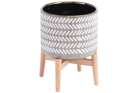 Tribal Planter Gray & White