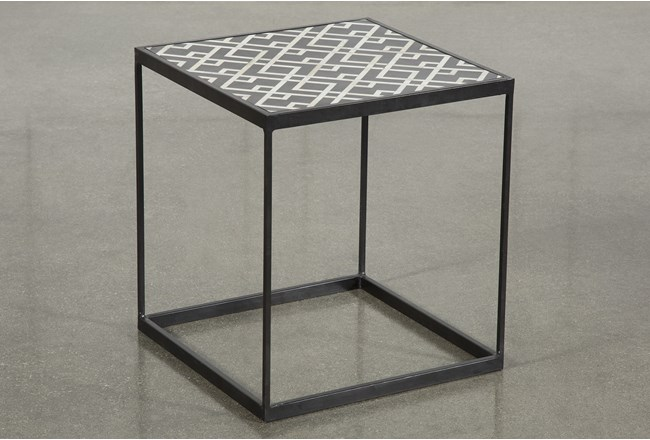 Black And White Metal Side Table - 360