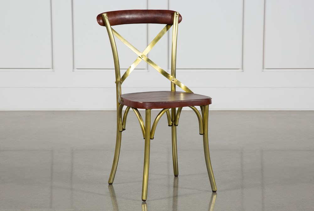 Brass And Brown Dining Chair
