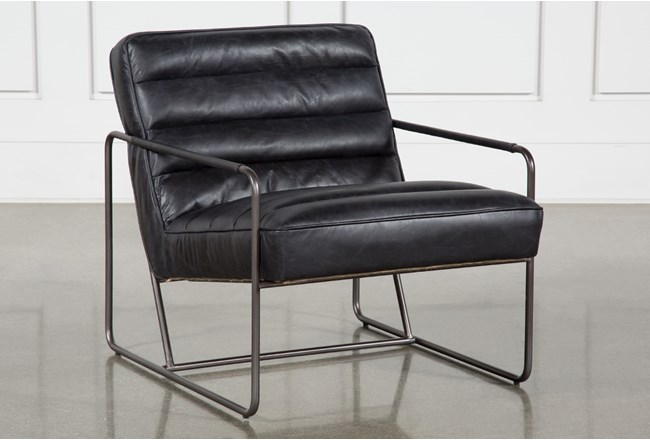 Black Leather Channel Barcelona Chair - 360