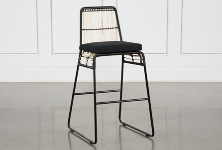 Rattan Counter Stool- Black Frame