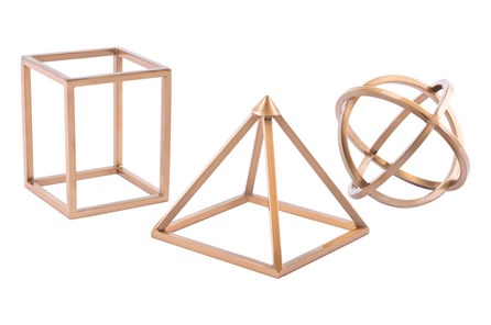Geo Shapes Set Of 3 Antique Brass - Main
