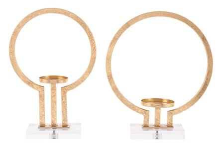 Oly Set Of 2 Candle Holders Gold - Main