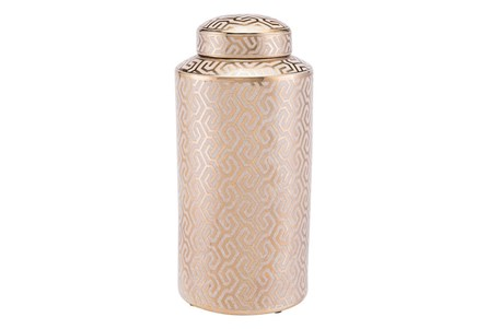 Zig Zag Covered Jar Lg Gold And White