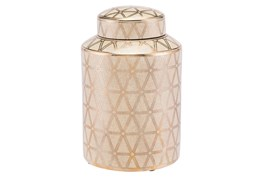 Link Covered Jar Sm Gold And Yellow