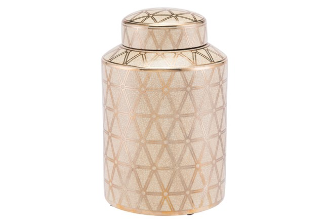 Link Covered Jar Sm Gold And Yellow - 360