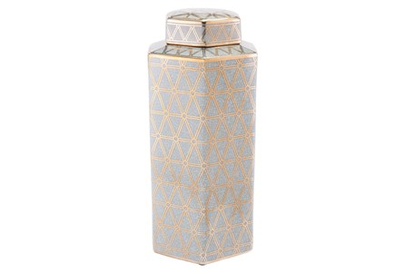 Link Covered Jar Lg Gold And Blue