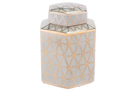 Link Covered Jar Sm Gold And Blue