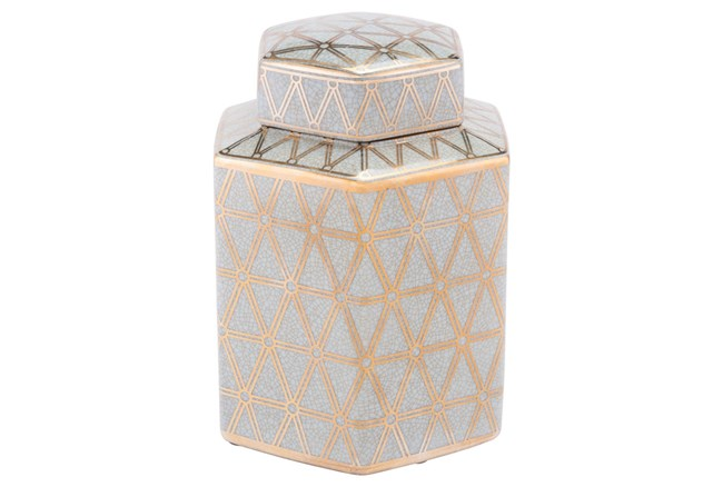 Link Covered Jar Sm Gold And Blue - 360
