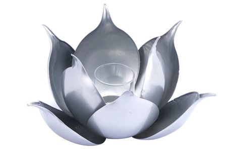 Lotus Candle Holder Silver - Main