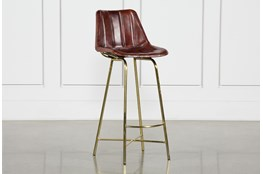 Leather Channel Bar Stool