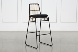Rattan Bar Stool - Black Frame