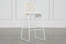 Rattan Bar Stool - White Frame