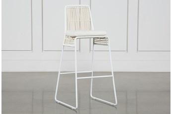 Rattan Bar Stool - White Frame