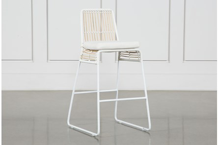 Rattan Counter Stool - White Frame