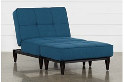 Paige Blue Convertible Chair And Ottoman