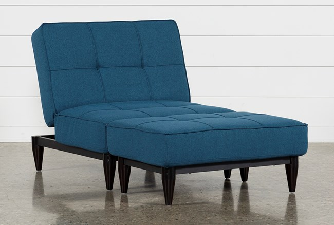 Paige Blue Convertible Chair And Ottoman - 360