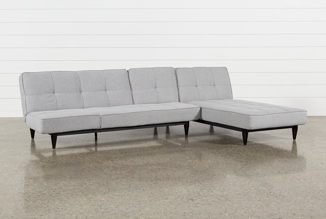Paige Grey Convertible Sofa And Chaise - 360