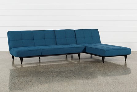 Paige Blue Convertible Sofa And Chaise