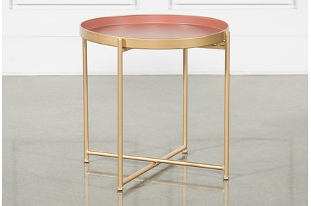 Red Short Accent Table