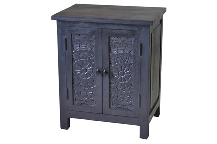 Carved Lace Dark Grey Wash 2 Door Cabinet