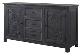 Carved Lace Dark Grey Wash 4 Door Sideboard