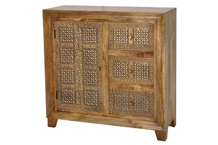 Brass Brocade 3 Drawer 1 Door Chest