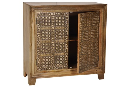 Brass Brocade 2 Door Chest