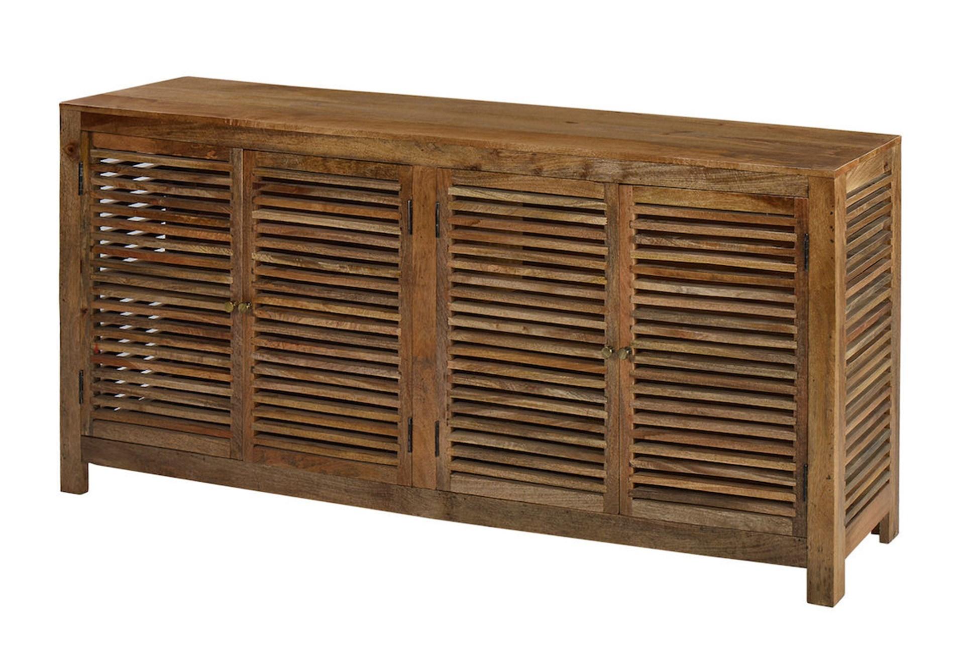 Light Wood Shutter 4 Door Cabinet Living Spaces