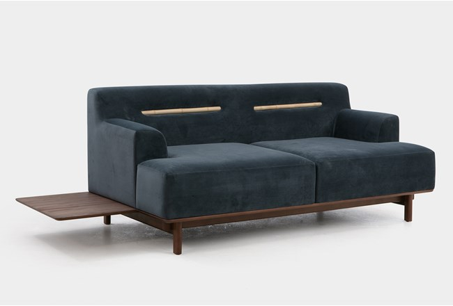 Grey 2 Seater Sofa With Table - 360