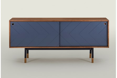 Walnut With Blue Door Sideboard