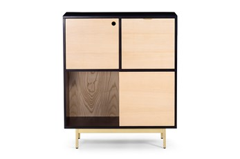 Black And Natural Wood Storage Cabinet