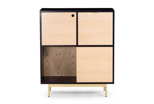 Black And Natural Wood Storage Cabinet - 360