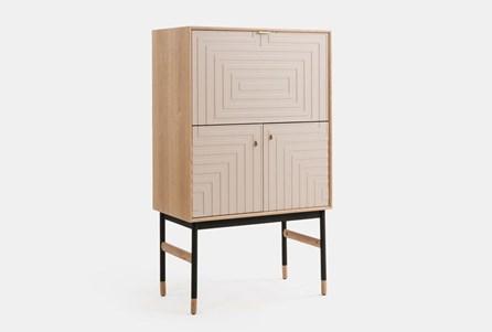 Light Wood With Cream Door Bar Cabinet