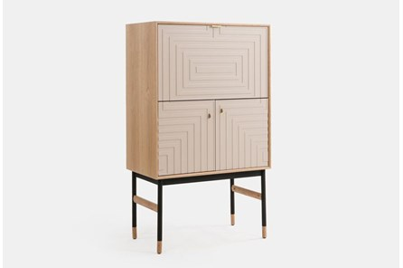 Light Wood With Cream Door Bar Cabinet
