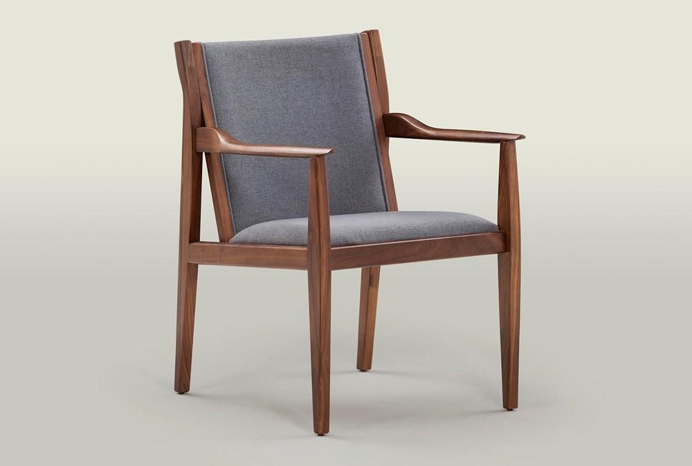 Grey & Walnut Arm Chair