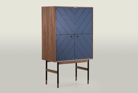Walnut With Blue Door Bar Cabinet