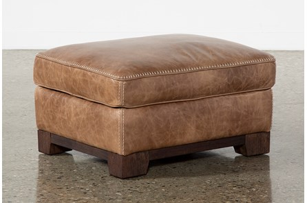 Brown Leather Cross Stitch Ottoman