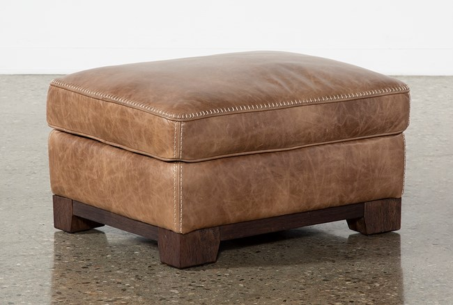 Brown Leather Cross Stitch Ottoman - 360