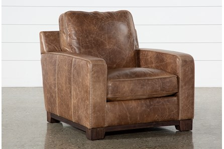 Brown Leather Cross Stitch Chair