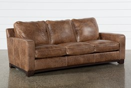 Brown Leather Cross Stitch Sofa