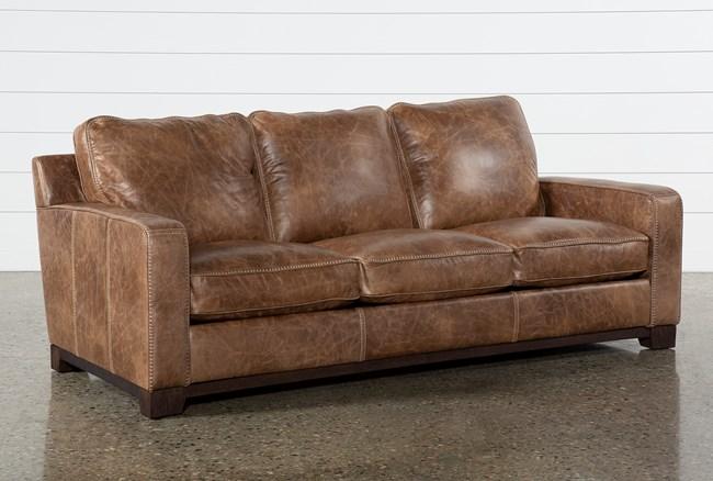 Brown Leather Cross Stitch Sofa - 360