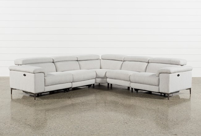 Talin Linen II 5 Piece Power Reclining Sectional - 360