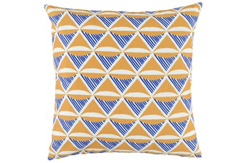 Outdoor Accent Pillow-Outdoor Yellow And Indigo Sails 22X22
