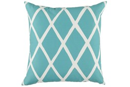 Outdoor Accent Pillow-Outdoor Aqua Lattice 22X22