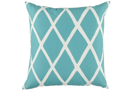 Outdoor Accent Pillow-Outdoor Aqua Lattice 22X22
