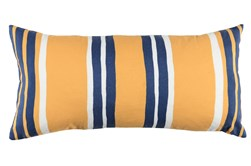 Outdoor Accent Pillow-Outdoor Yellow And Indigo Stripes 12X24