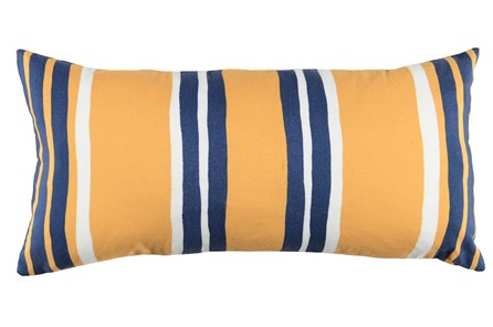 Outdoor Accent Pillow-Outdoor Yellow And Indigo Stripes 12X24 - Main