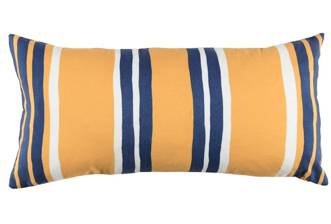 Outdoor Accent Pillow-Outdoor Yellow And Indigo Stripes 12X24 - 360