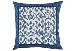 Outdoor Accent Pillow-Outdoor Indigo Blue Border 22X22